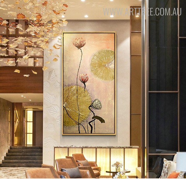 Lotus Leaves Abstract Floral Handmade Oil Resemblance for Modern Interior Design