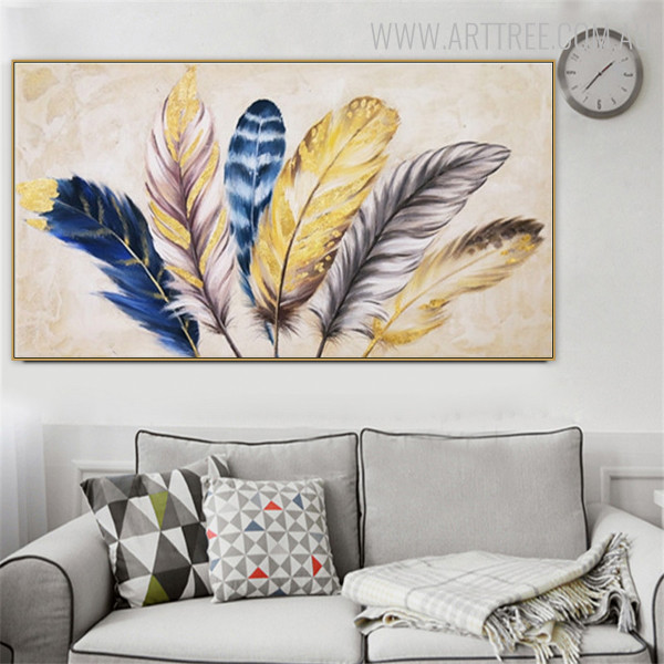 Feathers Abstract Framed Texture Handpainted Canvas for Living Room Wall Drape