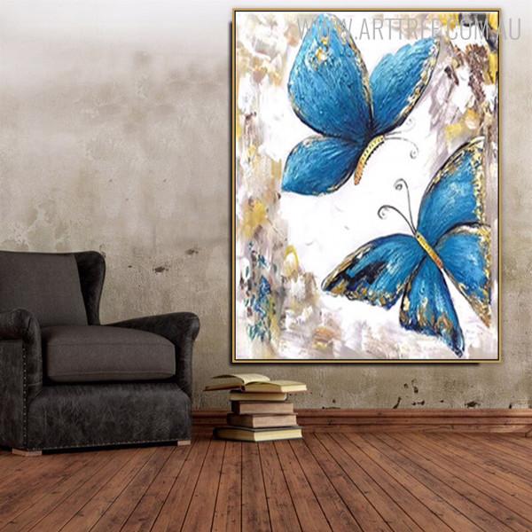 Blue Butterflies Abstract Modern Animal Handmade Oil Vignette for House Interior Design