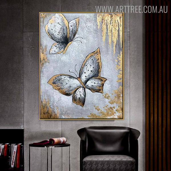 Grey Butterflies Abstract Modern Animal Oil Effigy on Canvas  for Living Room Wall Finery
