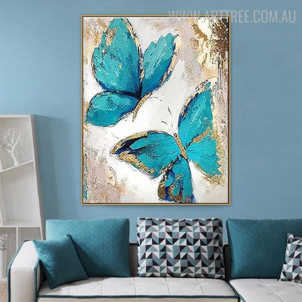 Cyan Butterflies Modern Animal Heavy Texture Canvas Painting for Wall Decor Design