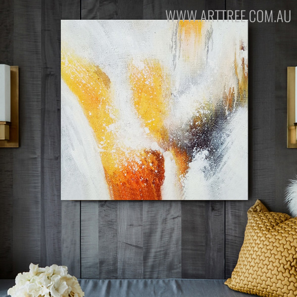 Red Yellow Abstract Oil Portmanteau on Canvas for Modern Interior Design