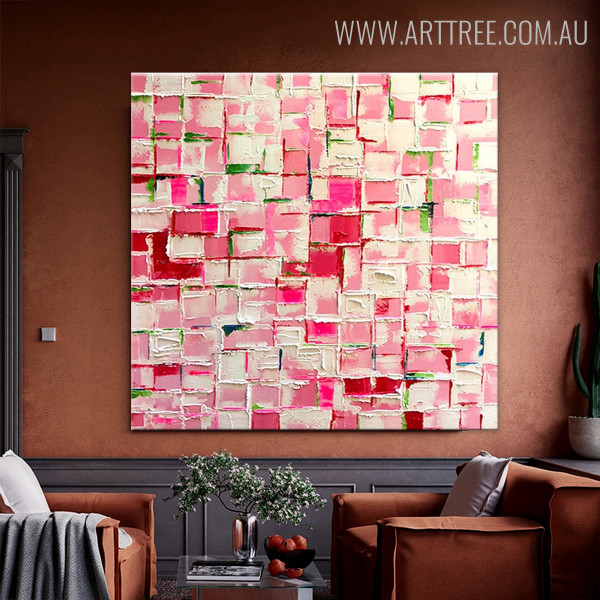 Pink Abstract Modern Heavy Texture Knife Painting on Canvas for Wall Hanging Decor