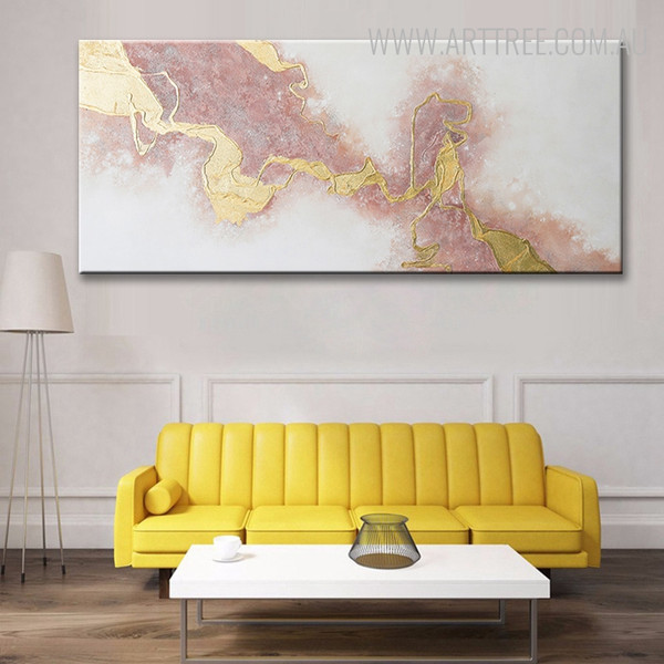 Abstract Gold Modern Texture Acrylic Painting for Interior Decoration