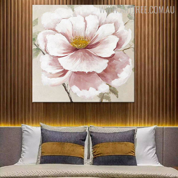 Pink Zinnia Floral Contemporary Handmade Oil Portraiture for  Bedroom Wall Getup