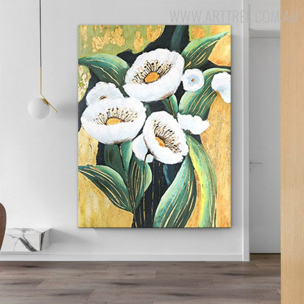 White Poppies Texture Floral Handmade Oil Resemblance on Canvas for Home Wall Adornment