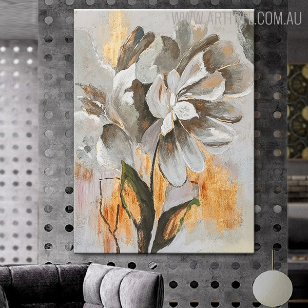 Abstract Flower Modern Heavy Texture Oil Effigy on Canvas for Floral Interior Design
