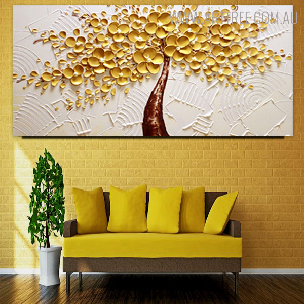 Yellow Blossoms Abstract Modern Floral Texture Knife Effigy for Art Lovers