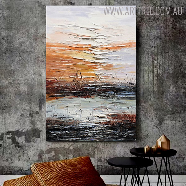 Lakeside Abstract Contemporary Bold Texture Handmade Nature Portraiture for House Interior Design