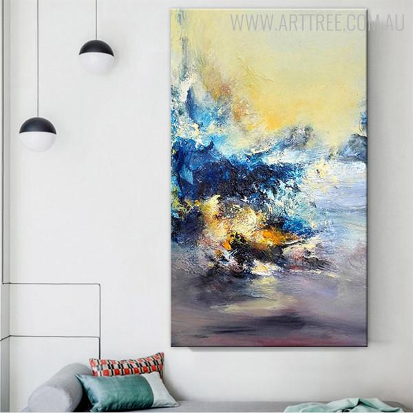 Ultramarine Abstract Modern Texture Framed Knife Artwork for Living Room Wall Decor