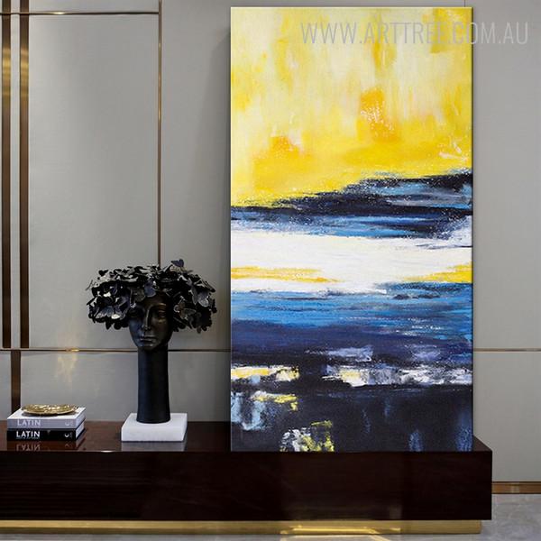 Narrowly Blue Abstract Contemporary Framed Handmade Canvas Art for Wall Decor Design