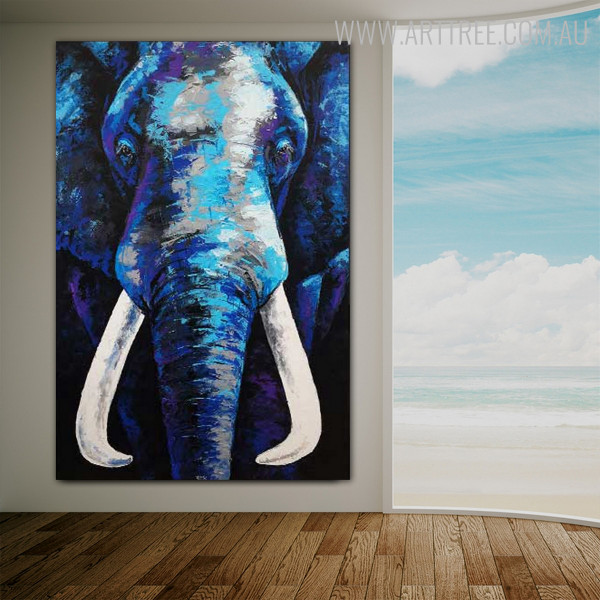 Blue Elephant Abstract Animal Framed Handmade Oil Vignette for Room Wall Adornment