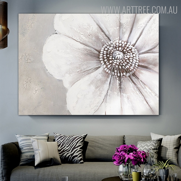Big Petal Flower Abstract Modern Floral Framed Painting for Room Wall Decor