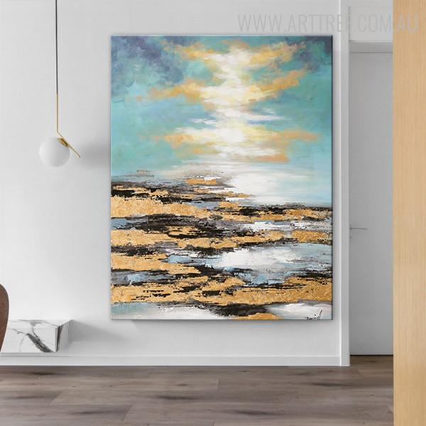 Blue Sky Framed Handmade Oil Portraiture for Living Room Wall Garniture
