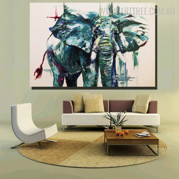 African Elephant Abstract Modern Animal Framed Handmade Oil Painting for Room Wall Ornament