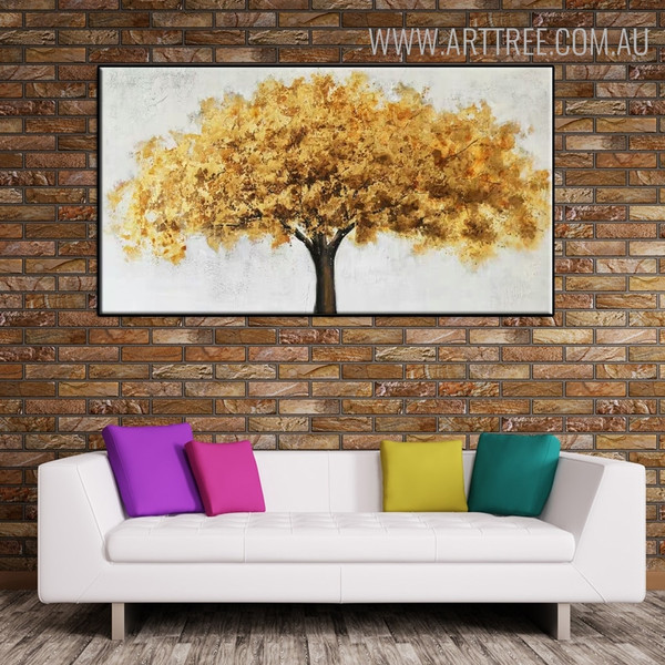 Big Golden Tree Floral Abstract Contemporary Framed Oil Painting on Canvas for Room Wall Disposition