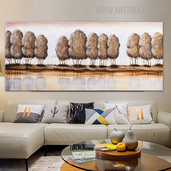 Lakeside Trees Panoramic Abstract Landscape Riverscape Nature Painting on Canvas for Wall Decoration