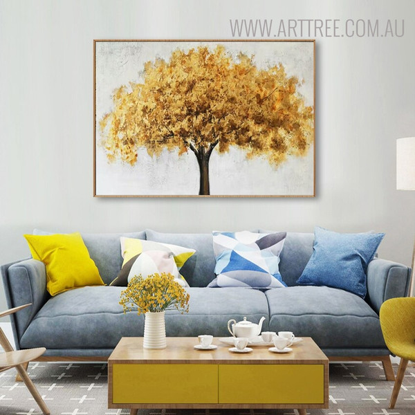 Golden Arbor Abstract Contemporary Framed Oil Painting on Canvas for Room Wall Drape