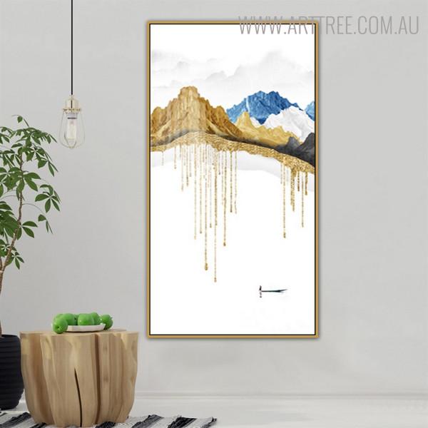 Hillsides Nature Mountainscape Framed Handmade Oil Painting for Wall Drape