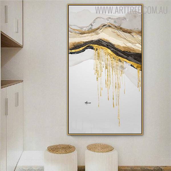 Peaks Nature Mountainscape Framed Handmade Oil Portmanteau for Wall Assortment
