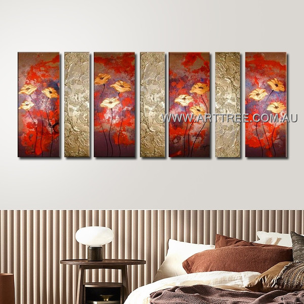 Calendula Floral Oil Painting 7 Panel Abstract Handmade Multi Panel Canvas Oil Painting Wall Art Set For Room Ornament