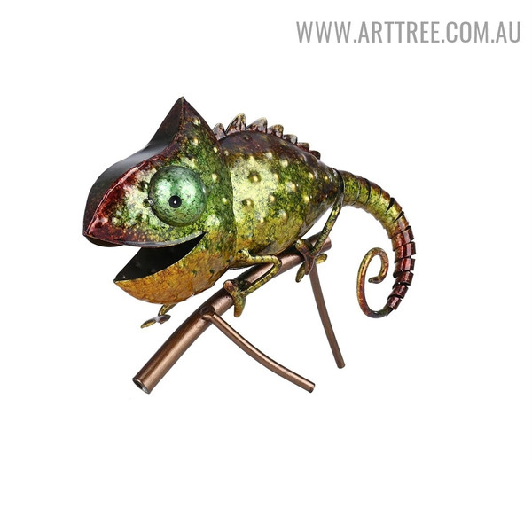 Colorful Chameleon Animal Iron Statue