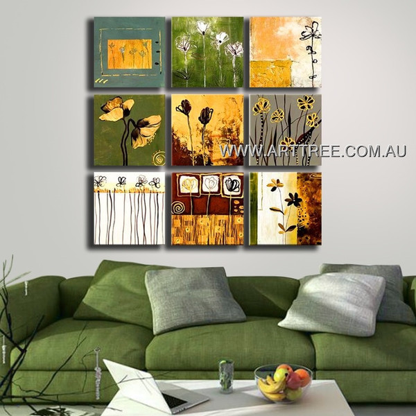 Modern Floral Oil Painting 9 Panel Abstract Handmade Artist Split Panel Canvas Wall Art Set For Room Decoration