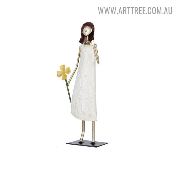 Holding Flower Girl Iron Material Indoor Statue Decoration