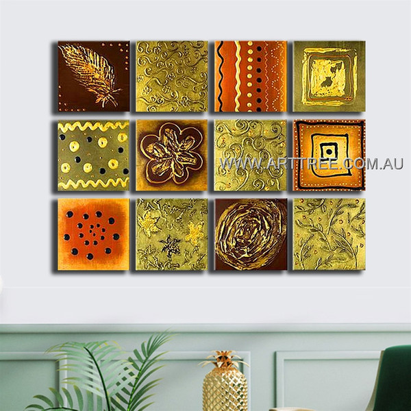 Abstract Leaf Floral Canvas 12 Panel Abstract Handmade Artist Multi Panel Canvas Oil Painting Wall Art Set For Room Wall Garniture