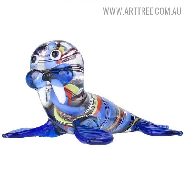 Colorful Walrus Animal Glass Material Indoor Statue Decoration
