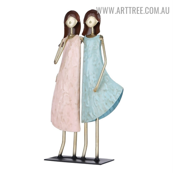 Two Ladies Figurine Iron Material Modern Sculpture for Sale in Australia
