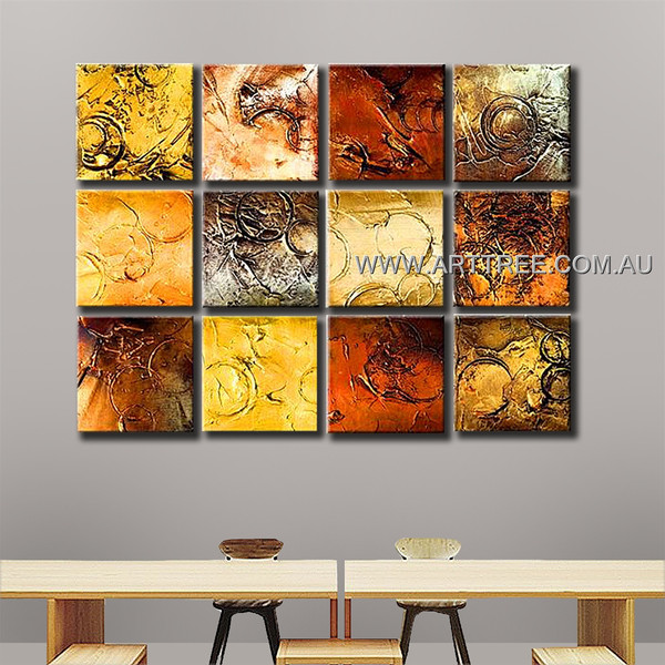 Abstract Circular Painting Canvas 12 Panel Abstract Handmade Artist Multi Panel Canvas Oil Painting Wall Art Set For Room Wall Garnish
