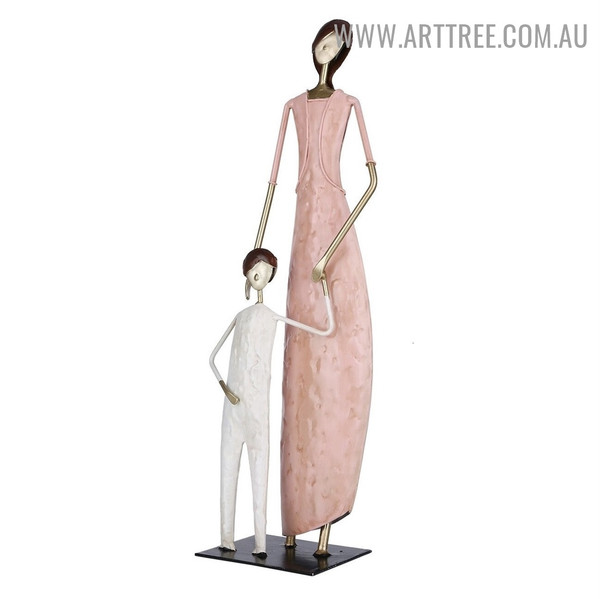 Mummy and Son Iron Material Modern Sculpture Statue for Sale