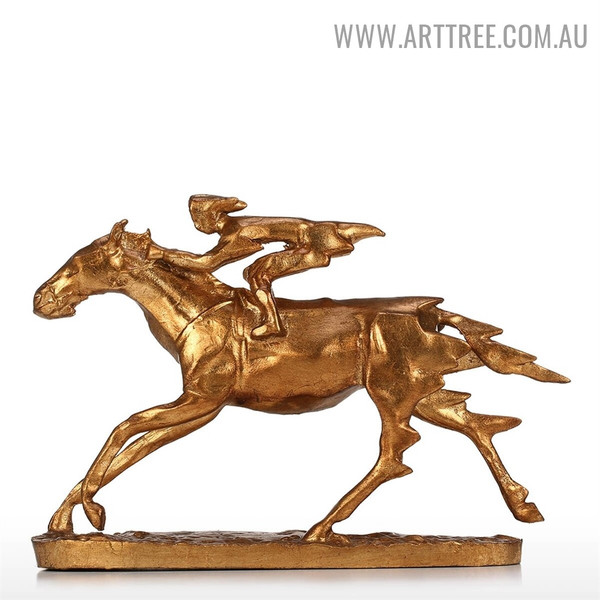 Knight on Horse Animal Iron Material Statue