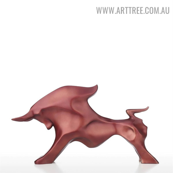 Bull Statue Abstract Animal Figurine Resin Sculpture