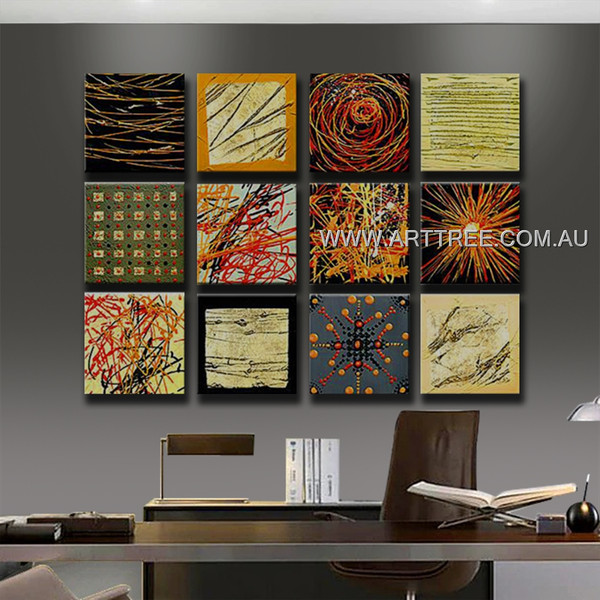 Abstract Wall Art Painting 12 Panel Abstract Handmade Artist Split Panel Painting Set For Room Ornament
