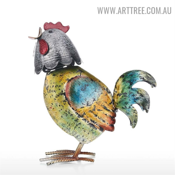 Colorful Rooster Bird Iron Modern Sculpture for Sale