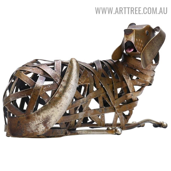 Braided Dog Animal Modern Iron Indoor Statue Decoration