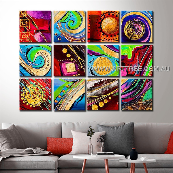 Colorful Planet Design Artwork 12 Panel Abstract Handmade Artist Multi Panel Wall Art Painting Set For Room Adornment