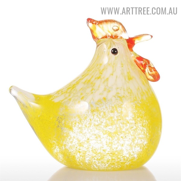 Small Chicken Bird Figurine Glass Modern Indoor Statue Decoration