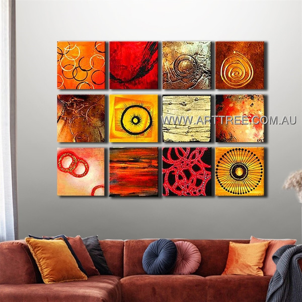 Circular Multipanel Painting 12 Panel Abstract Handmade Artist Split Panel Painting Wall Art Set For Room Finery