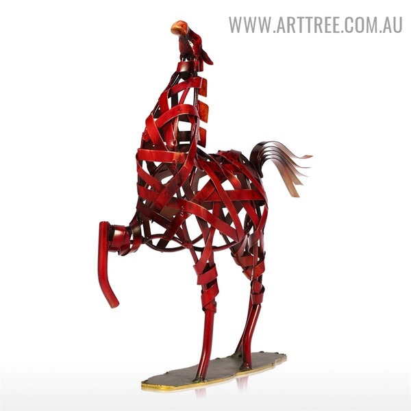 Weaving Horse Animal Figurine Metal Statue for Sale