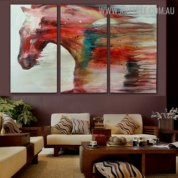 Colorific Horse Animal Acrylic Modern 3 Piece Split Canvas Painting Set for Wall Hanging