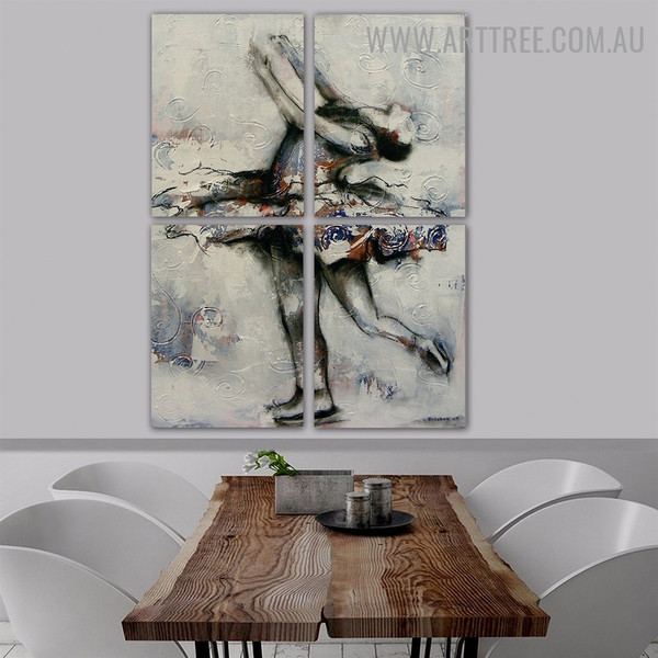 Ballet Dancer II Abstract Acrylic Handmade 4 Piece Split Complementary Painting Wall Art Set for Room Wall Décor