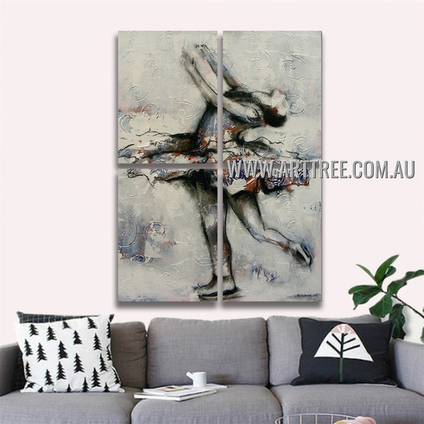 Ballet Dancer II Abstract Acrylic Handmade 4 Piece  Multi Panel Wall Painting Set Painting For Room Wall Tracery