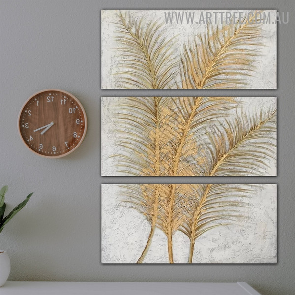 Golden Palm Leaves Abstract Acrylic Handmade 3 Piece Multi Panel Canvas Oil Painting Wall Art Set for Room Wall Decoration