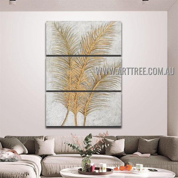 Golden Palm Leaves Abstract Acrylic Handmade 3 Piece Multi Panel Wall Art Painting Wall Art Set For Room Wall Moulding