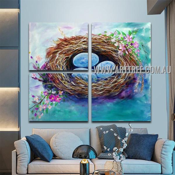 Nidus Abstract Acrylic Artist Handmade 4 Piece Multi Panel Canvas Painting Wall Art Set For Room Décor