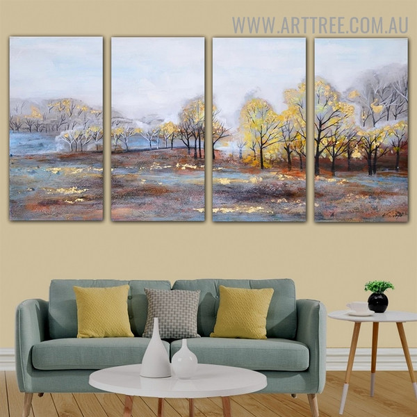 Shiny Forest Nature Acrylic Heavy Texture Handmade 4 Piece Multi Panel Painting Wall Art Set for Room Garniture