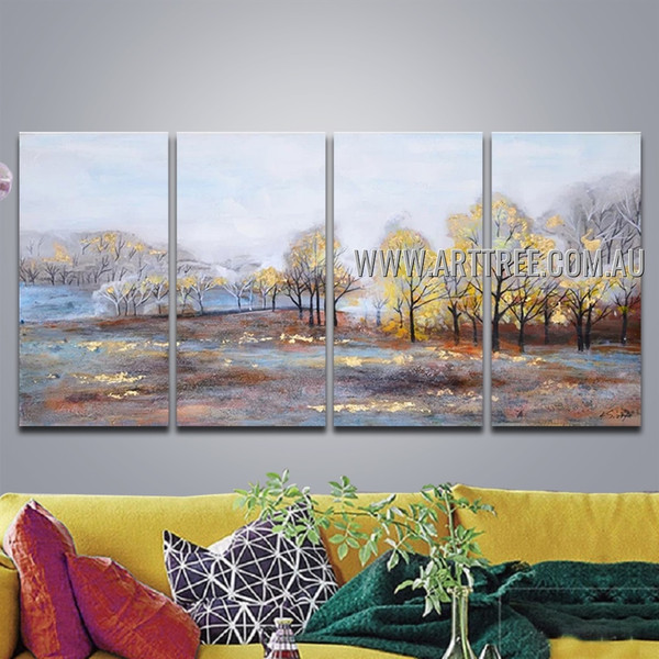 Shiny Forest Nature Acrylic Heavy Texture Handmade 4 Piece Multi Panel Oil Painting Wall Art Set For Room Adornment